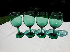 4 Libbey Rock Sharpe Premiere Dark Green Glass Stem 10 oz Water Goblets