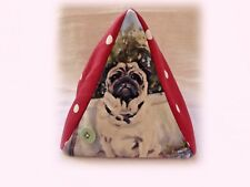 PUG DOG DESIGN FABRIC DOORSTOP SANDRA COEN ARTIST OIL PAINTING PRINT