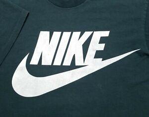 Vintage 1990s Nike Dark Green Logo Gray Tag Made in USA Large Shirt