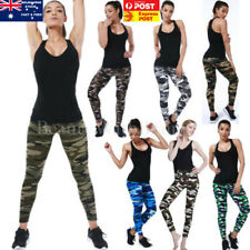 Women Camouflage Pants High Waist Stretch Leggings Sports Pencil Trousers