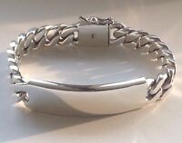"8"" 90g HEAVY BIKER CUBAN CURB CHAIN LINK 925 STERLING SILVER MEN'S ID BRACELET"