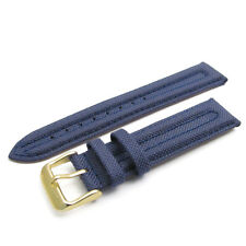 Apollo Watch Strap Band 20mm Dk Blue Ribbed Textile Canvas