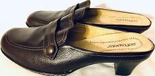 Softspots Brown Leather MID BLOCK HEELS SlipOn Mules Women's 10WW Clog Shoes EUC