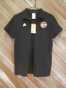 WNBA Indiana Fever Shirt Adidas 2 Button Polo Size Large Women's Black NWT