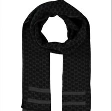 Michael Kors Men's Reversible Scarf Black/grey Logo  NEW