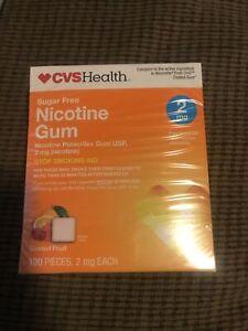 CVS  Sugar Free Nicotine Gum 2 mg Coated Fruit 100 PIeces EXP 2/21