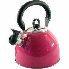 2.5L Stainless Steel Whistling Kettle Electric Gas Hob Camping Pink