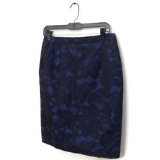 ANDREW GN Skirt 42 Blue Black Lace Pencil Straight Knee Length Women's Couture
