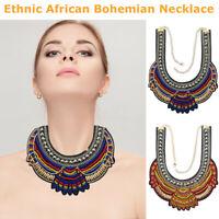 Ethnic African Bohemian Necklace Statement Pendant Chunky Collar Bib Beaded