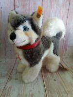 Steiff Vintage Husky Dog Plush Toy 079658 All tags