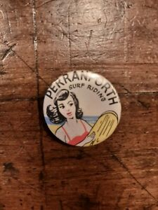 Vintage bellyboard surfing tin badge Perranporth 1960s - jemah products