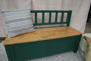 This is a Beautiful Palmetto Green Pine Bench with storage.
