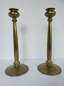 """Original Bradley & Hubbard Mfg CoAntique Brass Candlesticks 12"""" Tall"""