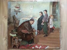 Oil Russian Painting Portrait  Returned to Family Soviet USSR Socialist realism