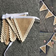 Fabric Hessian Bunting Rustic Burlap Banner Shabby Vintage Wedding Party Decor