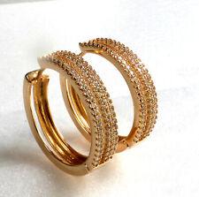 18K Gold Plated Simulated Diamond Uk Women Lady 25mm Big Heavy Hoop Earrings