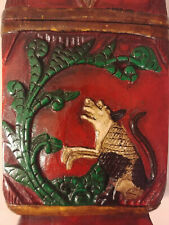 Indonesian Hand Carved Wood Box w/ Lid Green & Red Frog Dog Tree Mythological