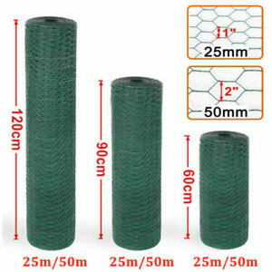 25/50M Long PVC Coated Green Wire Mesh Chicken Fencing Aviary Rabbit Fence Hutch