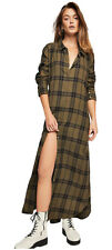Free People Women's Long Sleeve Shirt Dress, Olive/Black - Size L