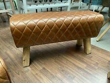 Sitzbank Turnbock Springbock Ottomane Vintage Büffel Leder Braun