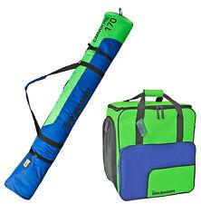"""BRUBAKER Set of Ski Bag & Boot Bag - 170 cm (66 7/8"""") - Green/Blue"""