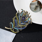 Brooch Women  Antique Vintage Crystal Pin Jewelry Accesso Feather Rhinestone