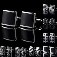 1Pair Black Stainless Steel Mens Cufflinks Shirt Cuff Links Wedding Party LJ
