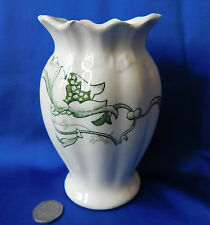 Antique vase green and white 14 cm tall Vintage pottery Victorian Edwardian