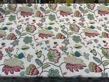 Pink York Jacobean Floral Floral Drapery Upholstery Fabric By The Yard