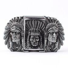 Vintage Lighter Indian Warrior Men's Belt Buckle Cowboy Native American (IW-02S)