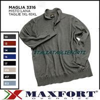 MAXFORT 3316 MAGLIA MAGLIONE LANA POLO BOTTONI UOMO TAGLIE FORTI XL 10XL POLO
