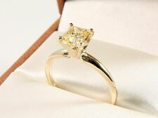 1.25 Carat EMERALD CUT VVS1 Fancy Yellow  Solitaire Wedding Engagement Ring