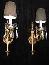 wall lamp solid bronze and crystal drops Figural mermaids ART DECO handcrafted