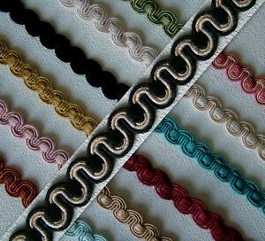 Scroll Gimp Braid Trim 14mm wide 1 metre upholstery craft - choice of 16 colours