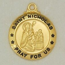 Gold & Sterling Silver St Nicholas Religious Catholic Medal Chain Pendant Christ