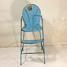 Vtg MCM 1940-50s  AMSCO Metal Baby BLUE Doll-E-Hichair High Chair Toy Furniture