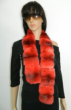 NEW ORANGE GENUINE CHINCHILLA FUR SCARF LONG 45''