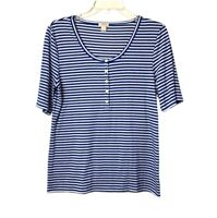 J. Crew Blue and White Striped Short Sleeve Tee Women's Size Large Button Front