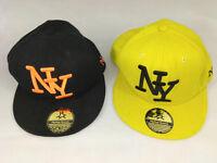 Lot de 2 casquettes NY HipHop Honour noir et jaune broderie  Envoi rapide suivi