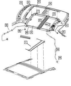 Genuine MOPAR Sunroof Glass Guide Right 5139814AA