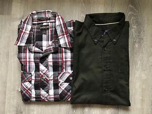 Lot Of 2 Men's Basic Editions/Helix  Multicolor Plaid Long Sleeve Shirt Large