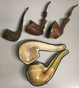 4 Vintage Pipes, Meerschaum, Knute, Weber 215, Nording Denmark