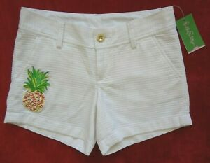 Lilly Pulitzer Callahan Shorts Womens Size 0 White Pineapple Patch