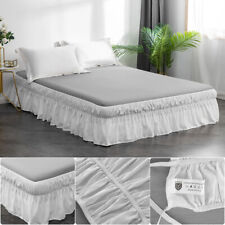 4Pcs Bed Skirt 16'' Drop Dressing Dust Ruffle Wrap Around Bed Queen Size White