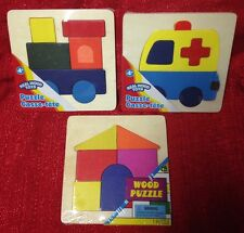 Toddler Wood Puzzles : Lot Of 3 Wooden Puzzles House Train & Ambulance New