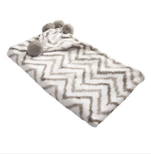 Gray Chevron Hip Style Microvelour W/Pom Poms Lounge Throw Blanket 50x60