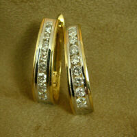 1 Ct Round Cut Diamond 14k Two Tone Gold Finish Channel Set Hoop Earrings