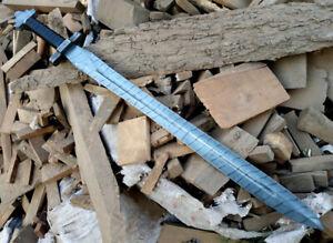"36 "" Costume Handmade Damascus Steel Warrior Sword With Lather Sheath"