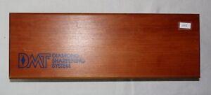 """DMT Diamond Sharpening System black sharpening stone 2.5"""" x 8"""" in wooden storage"""