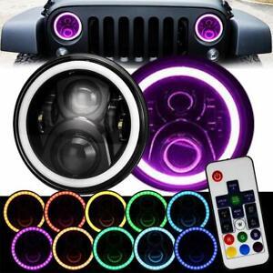 7inch Black Remote Rgb Smd Led Halo Headlights Jeep Wrangler Jk Tj Lj Hi/lo Beam